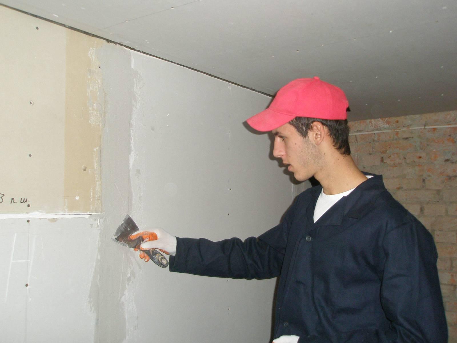Шпаклевка гипсокартона своими руками: швов и углов, стен и 40